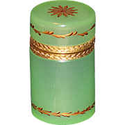 French Green Opaline and Enamel Cylindrical Hinged Casket or Box