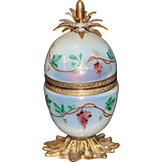 Antique French Opaline Enameled Pineapple Shape Lighter