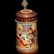 Vintage J W Remy Tavern Scene Etched Stein-Germany c 1900 #1291