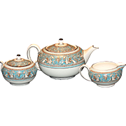Wedgwood Florentine Tea Set-Teapot, Creamer, Covered Sugar