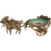 French Dore' Bronze and Porcelain Goat Cart