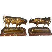 Pair Bronze Bull and Cow Figures on Marble Plinth - Pierre Jules Mene