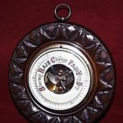 Hand Carved English Mahogany Aneroid Barometer --1900c