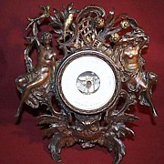 SALE Aneroid Desk Barometer -  German Bronze with Ornate Frame  with Original Gilded Elements