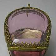 French Gilded Brass and Cranberry Glass Pocket Watch Holder
