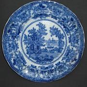 """Fairy Villas"" W. Adams & Co. Flow Blue Plate circa 1891-1917"
