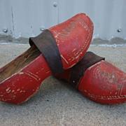 Pair of Original Dutch Antique Wooden Shoes
