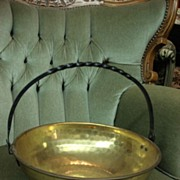 French Antique Hand Hammered Brass and Iron Pot Kettle Bowl