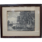 English Antique Etching Framed English Antique Art
