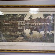Large Beautiful Original 1904 Lithograph by Flemish Master Victor Oliver Gilsoul Nautical Fren