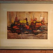 Beautiful Original Abstract Watercolor By B. J. Estes Framed