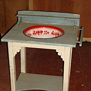 Antique Primitive Pine Country Washstand With Enamel Bowl