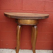 French Antique Walnut Console Table Game Table 1/2 Round Table