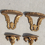 2 Pair of Gilt French Antique Wall Shelf's Wall Rack Antique Furniture