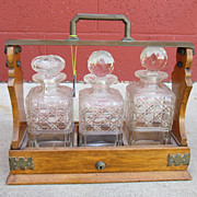 Victorian Antique Tantalus Liquor Decanter Crystal Liquor Decanter Stand