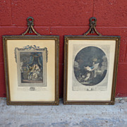 Pair of French Antique Etchings French Antique Prints
