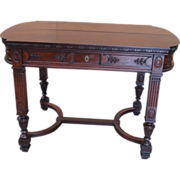 French Antique Desk Work Table Console Table Carved Mahogany