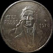 1978 Mexican Cien Pesos Silver Coin