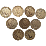 9 Walking Liberty Silver Half Dollars Silver Coins