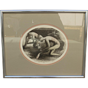 Lithograph Framed and Matted Reflected Dancer