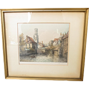 Original Antique Framed Etching Framed Picture Art