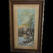 Antique Framed Pastel Painting Antique Framed Art