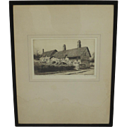 English Antique Etching Antique Framed Picture
