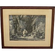 English Antique Etching English Antique Framed Picture