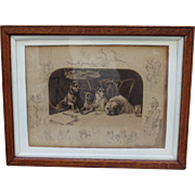 Antique Etching Dogs Antique Framed Picture