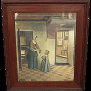 Original Antique Dutch Framed Lithograph Antique Framed Print
