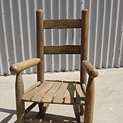 American Antique Primitive Rocking Chair Child's Rocking Chair Doll
