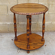 American Antique Round Oak Tier Table Antique Lamp Antique Side Table