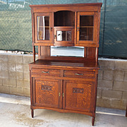 Beautiful French Solid oak Hutch Sideboard Display Cabinet With Beveled Glass