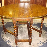 Beautiful Antique English Barley Twist Drop Leaf Table Game Card Table