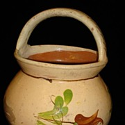 Beautiful Original Antique Hungarian Terracotta Pot With Handle Container Hand Painted