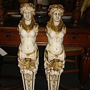 Stunning Pair of French Gilt Figural Columns Corbel Statue Sculptures