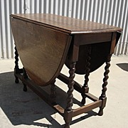 English Antique Barley Twist drop Leaf Table Antique Furniture