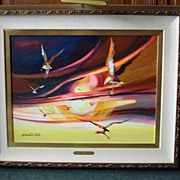 "Original Oil on Canvas by Alberto Ruiz Vela ""Birds in Flight"""
