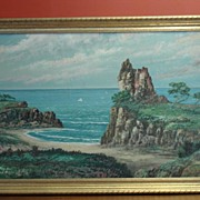 Original California Art J. Miles Oil on Board Monterey California Coast Beach Ocean Coast Them