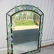 Antique Hand Forged Iron Beveled Glass Mirror