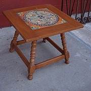 American Antique Tile Top Table Coffee Table Side Table Antique Furniture