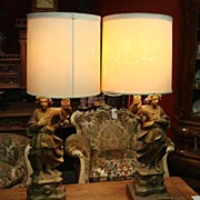 Large Pair of French Antique Lamps