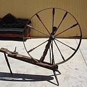 Large Antique Spinning Wheel Antique