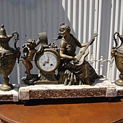 French Antique 3 Piece Figural Marble Mantle Clock With Urns Signed