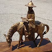Iron Man and Horse Gilt Japanese Statue