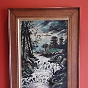 "Original Oil on Canvas Robert Reuben Clark Wood (W.Wood) Dated 1913 ""Silvery Moonlight"""