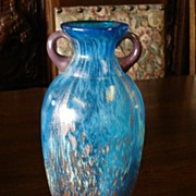 SALE PENDING Beautiful Turquoise and Gold Glass Vase Art Glass