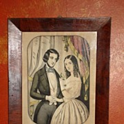 """Original Nathaniel Currier """"Currier and Ives"""" 1846 Victorian Framed Lithograph"""