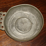 Antique Pewter Porringer Bowl With Handle