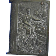 Bicycle motif match safe, book shaped, vulcanite